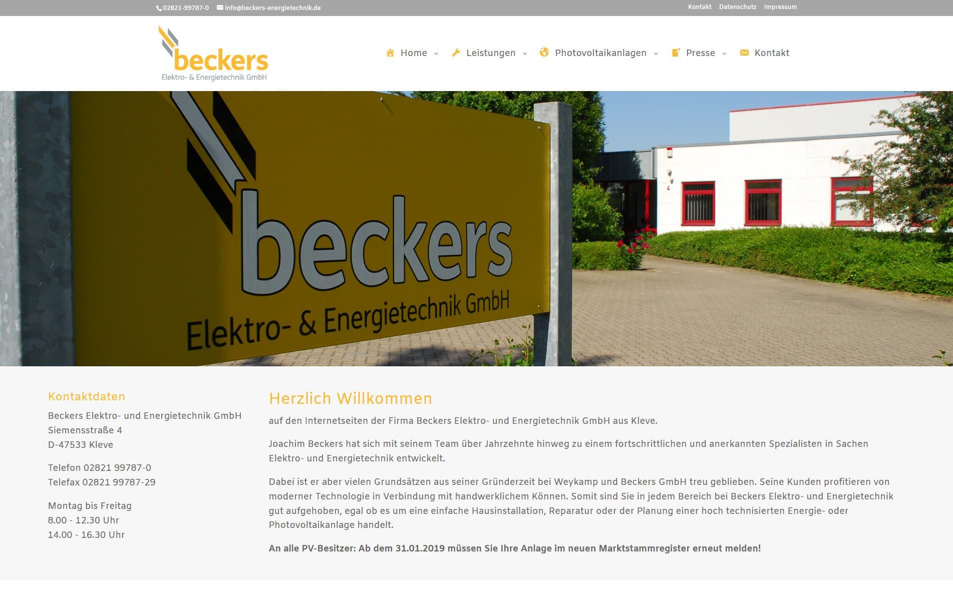 Webdesign Kleve TJWeb | Beckers Elektro- und Energietechnik GmbH