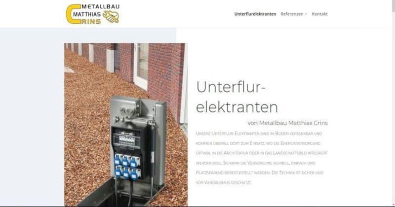 Webdesign Kleve TJWeb | Metallbau Matthias Crins aus Kleve liefert Unterflurelektranten
